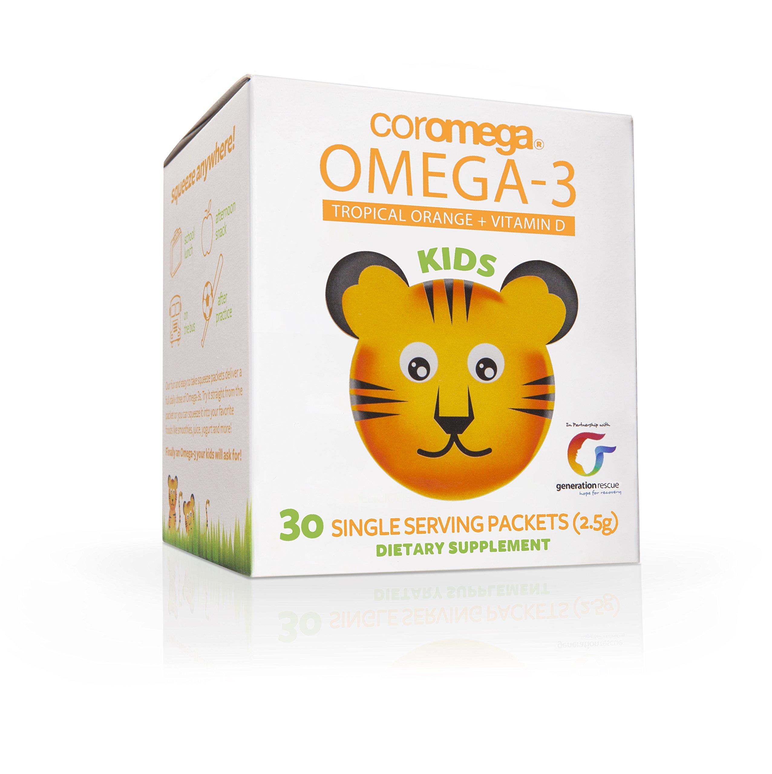 Coromega Kids Omega-3 Fish Oil Squeeze Packets, EPA and DHA, Brain Health, Eye Health, and Growth Development, 30-Count