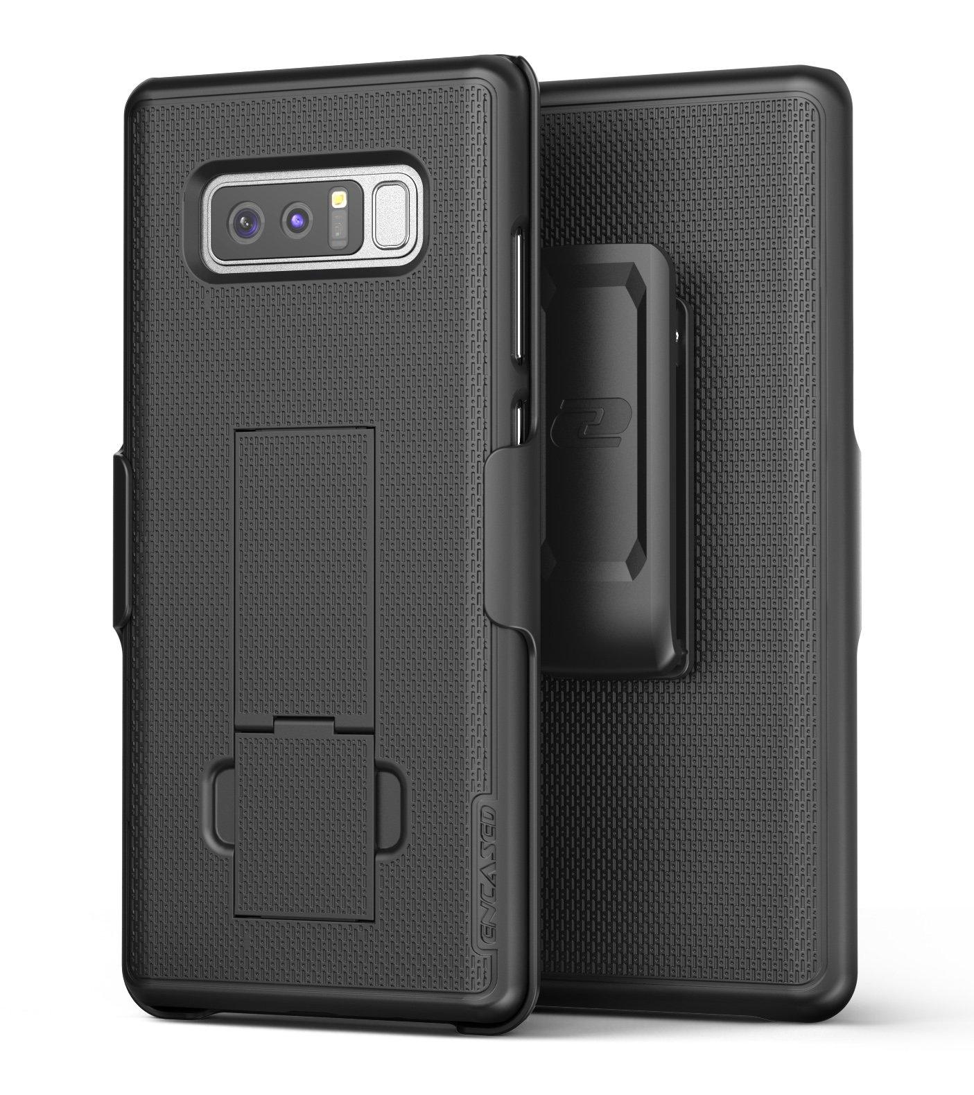 Samsung Galaxy Note 8 Belt Holster, Encased Thin Fit [DuraClip Series] Slim Grip Case & Belt Clip (Smooth Black) by Encased (Image #1)