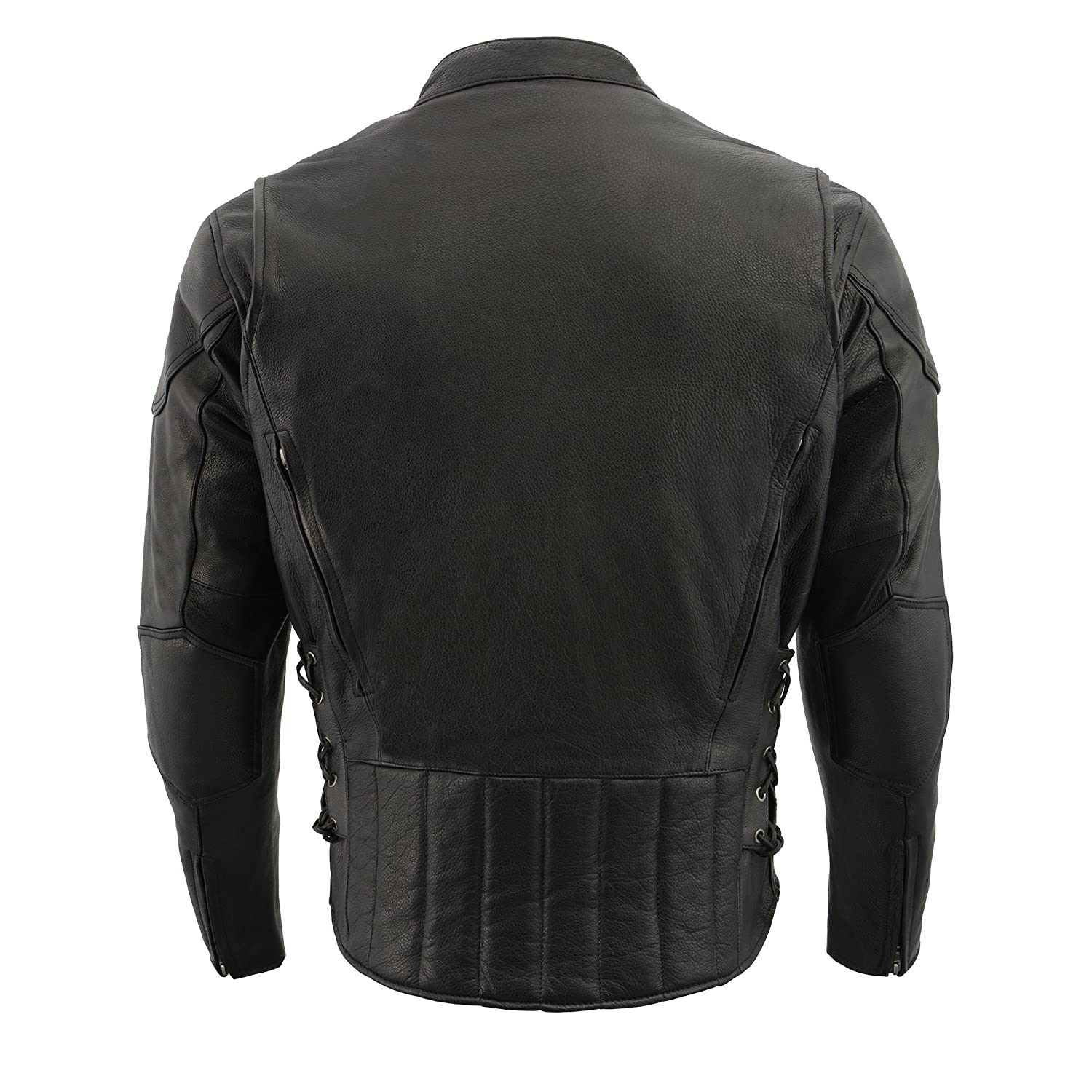 Black, 7X-Large Milwaukee Leather Mens Side Lace Vented Scooter Jacket