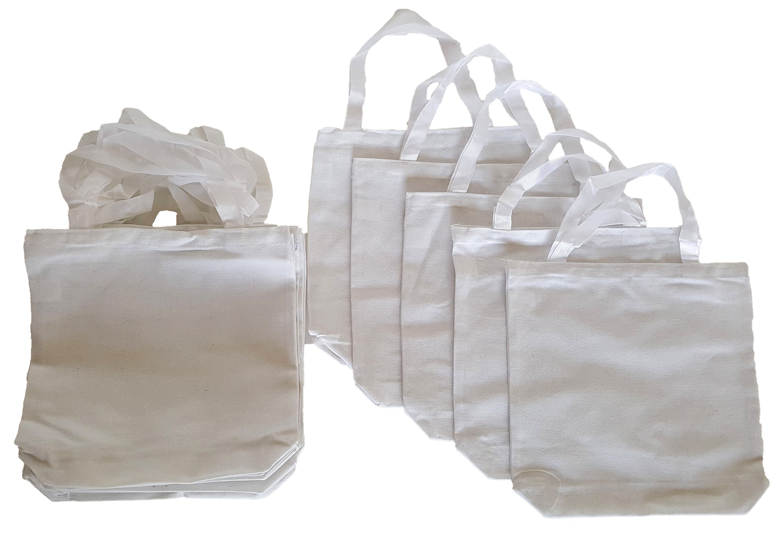 White Cotton Tote Bags, Party Goody Bags, To Go Bags. (12) by Dondor (Image #1)