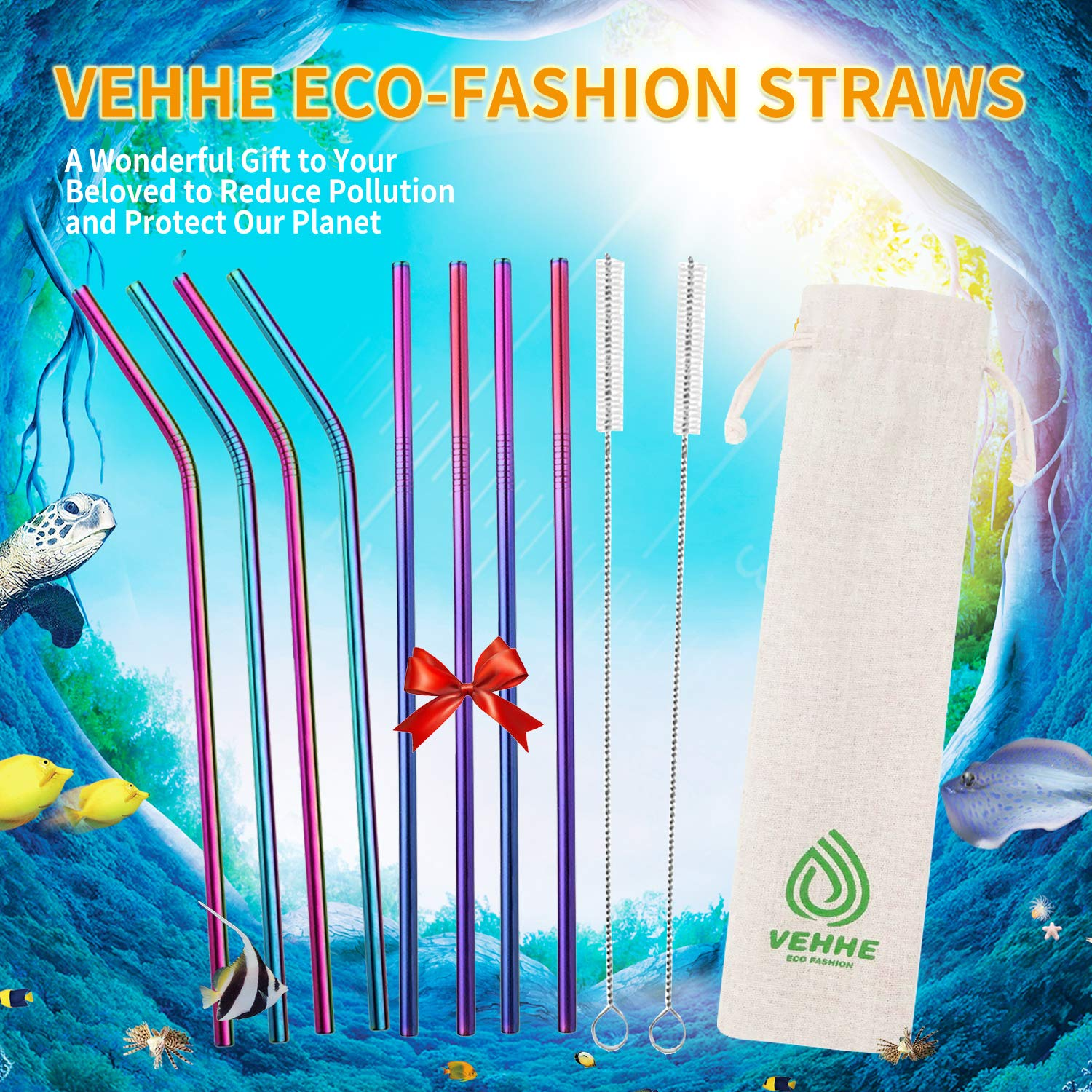 VEHHE Metal Straws Stainless Steel Straws 8 Set Reusable Drinking Rainbow Straws with Cleaning Brush for 20 OZ Tumblers(4 Straight + 4 Bent + 2 Brush) by VEHHE (Image #3)