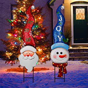 MAGGIFT 2 Pack Christmas Metal Stakes with Tinkle Bell, Metal Snowman and Santa Claus Garden Decor for Outdoor Decorations, Stake Decorative 3D Snowmen Welcome Yard Lawn Pathway Driveway Signs