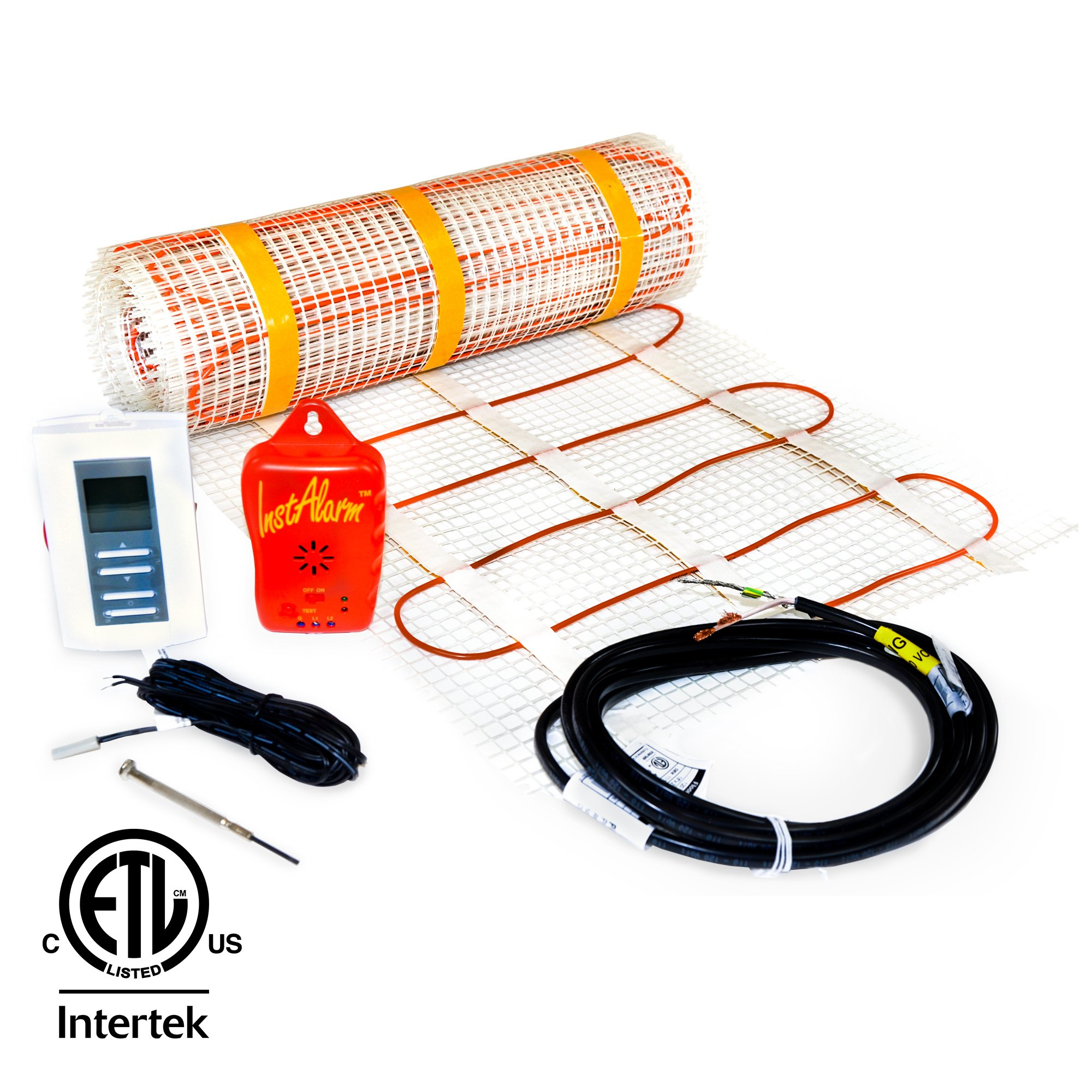 7 sq.ft. 120-Volt. Ceramic & Stone Tile Electric Floor Heating Kit w/Honeywell Floor Thermostat and Installation Alarm, (4.5 ft. x 1.5 ft.) - Other Sizes Available