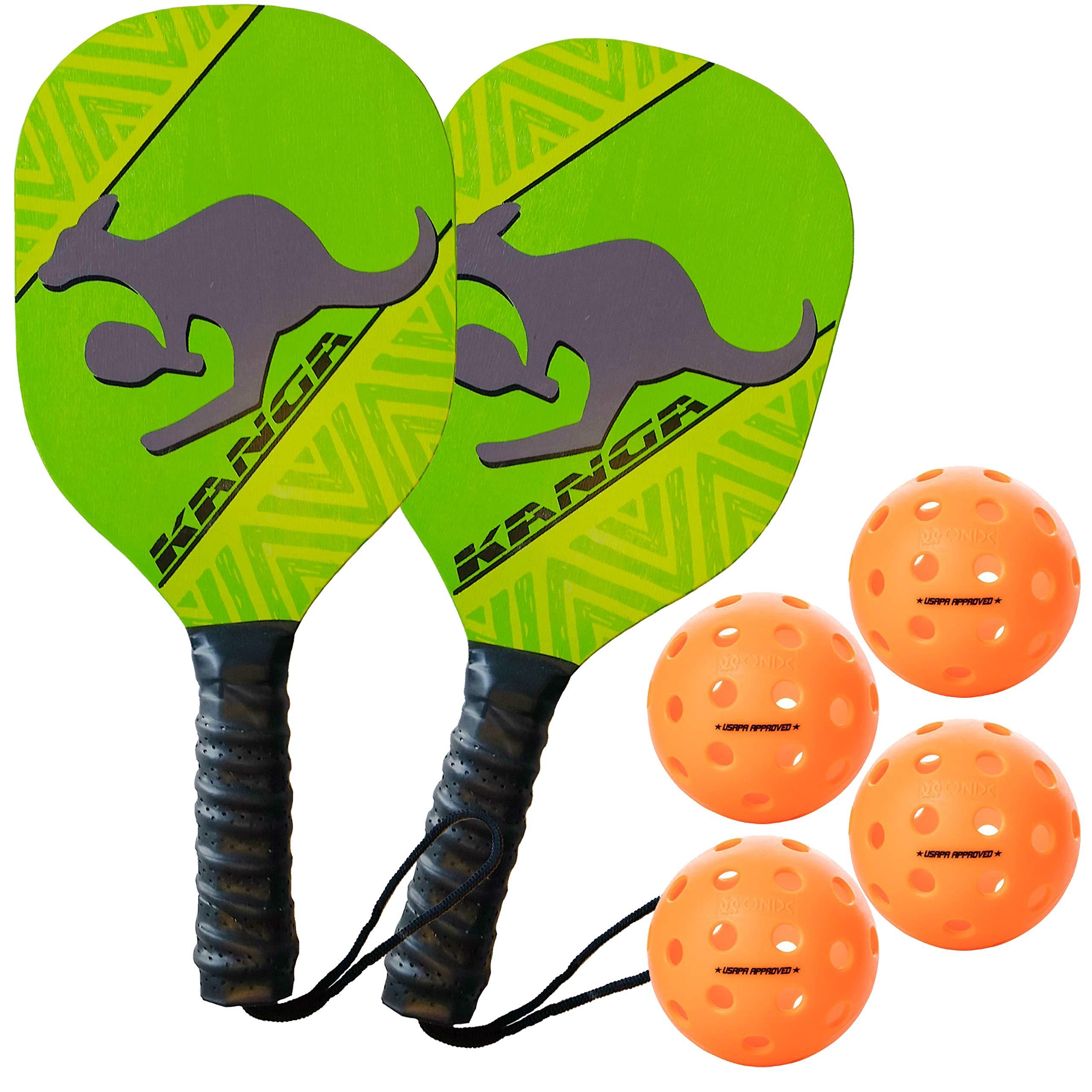 Kanga Beginner Pickleball Paddle & Bundles (3 Options: Single Paddle, 2 Paddle/4 Ball Bundle, 4 Paddle/6 Ball Bundle) (4 Paddle/4 Ball Pack - Orange Balls) by PickleballCentral