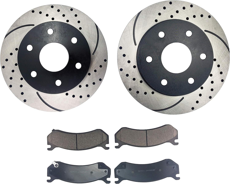 Silverado 2500 HD 01-10 FRONT Drill Slot Brake Rotors POSI QUIET Ceramic Pads
