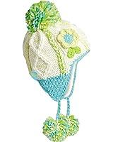 Turtle Fur Macaroon Girl's Hand Knit Earflap Pom Flower Winter Hat