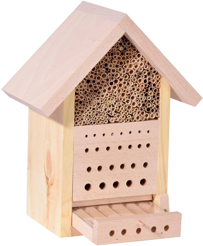 Luxus-Insektenhotels Design Nisthilfe für Insekten mit Buche-Dach, für Wildbienen und Marienkäfer 19.5 x 14 x 34 cm 61614e