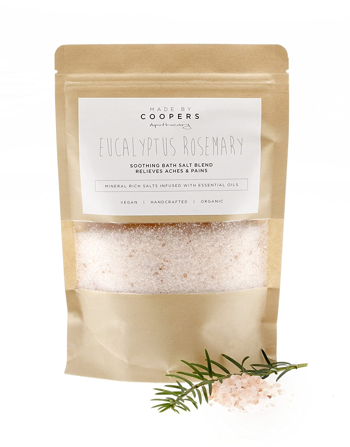 Eucalyptus Rosemary Soothing Bath Salt Blend with Essential Oils to Relieve Muscular Aches and Pains by Made By Coopers - 400g Bag.