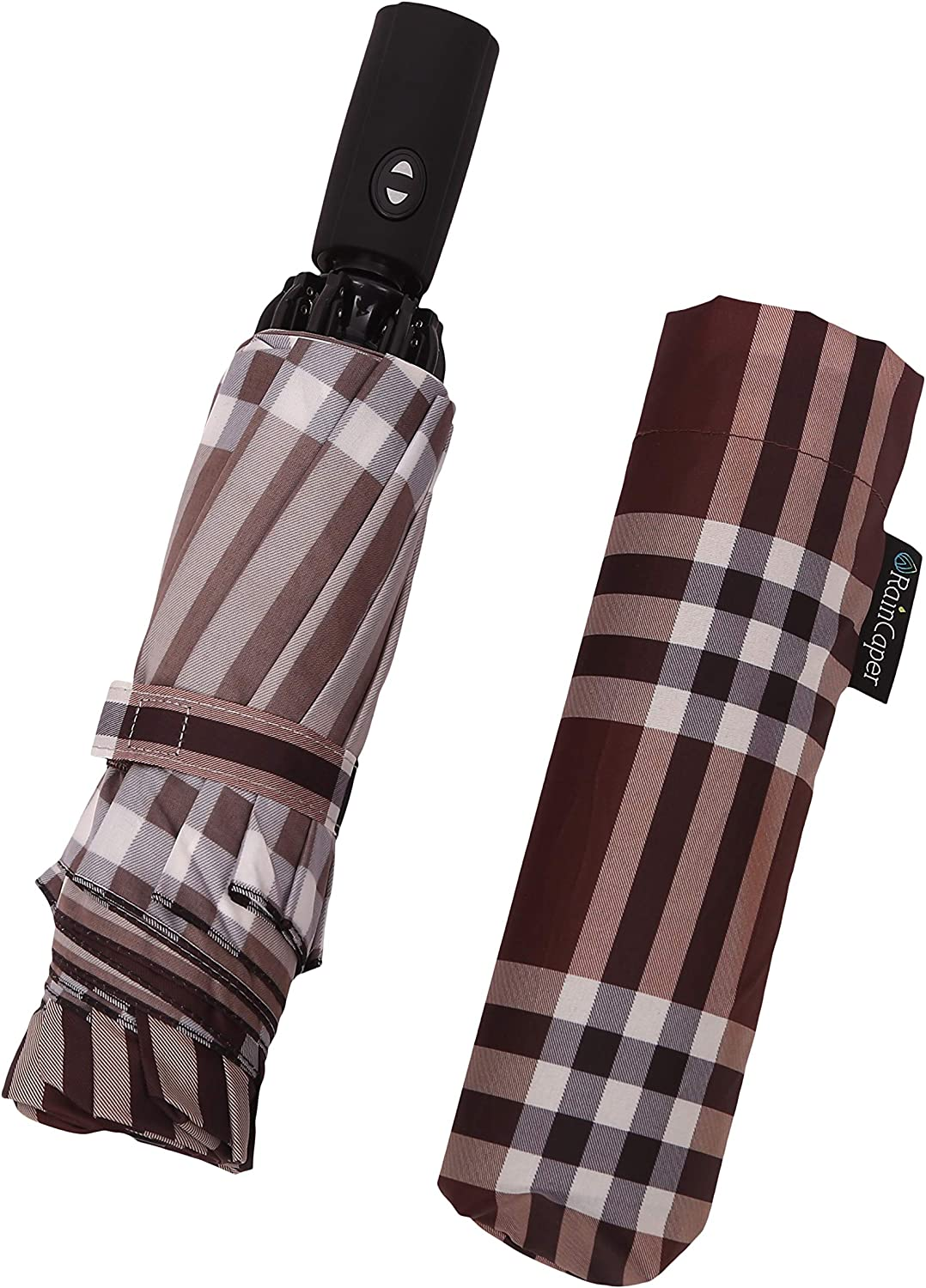 "RainCaper Windproof Auto Open//Close 46/"" Coverage Folding Travel Umbrella Crimson Black /& White Houndstooth Reinforced Rib Travel Umbrella w//Matching Sleeve"