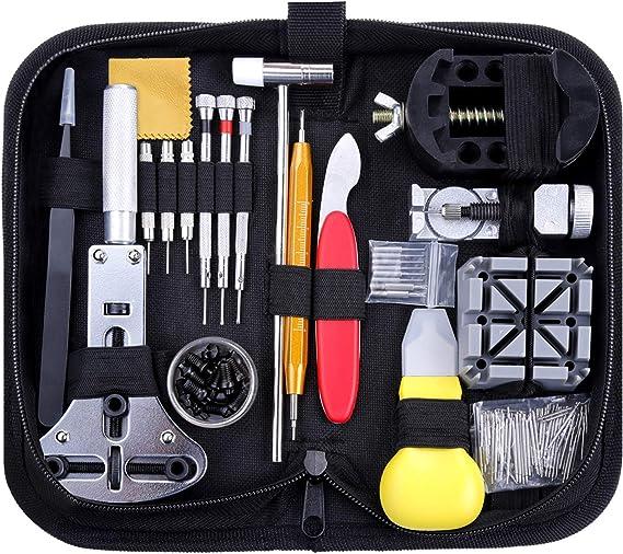 Zacro 151 Pcs Kit de Reparación de Relojes, con Herramientas de Reloj Barra de Resorte Profesional, con Abridor de Repara Pulsera de Reloj 52mm con Estuche Negro, Varios Accesorios,etc.: Amazon.es: Relojes