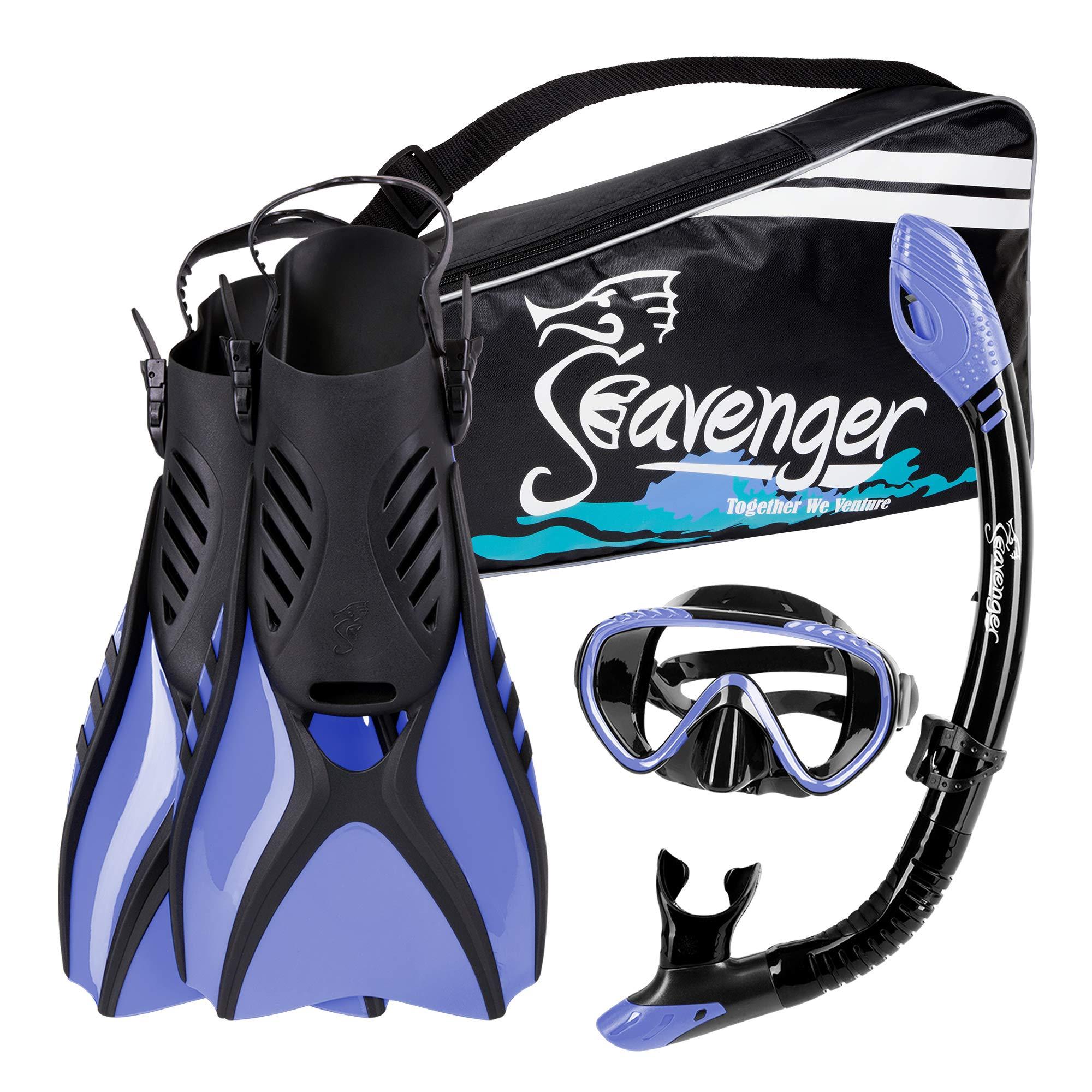 Seavenger Voyager Snorkeling Set   Travel Fins, Snorkel, Mask and Gear Bag for Men and Women (Black Silicone/Periwinkle, Medium) by Seavenger