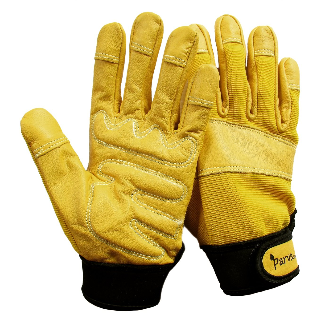 Gardening Gloves, Leather Garden Gloves Thorn Proof Gloves with Padded Palms, Work Gloves (Large, Yellow)