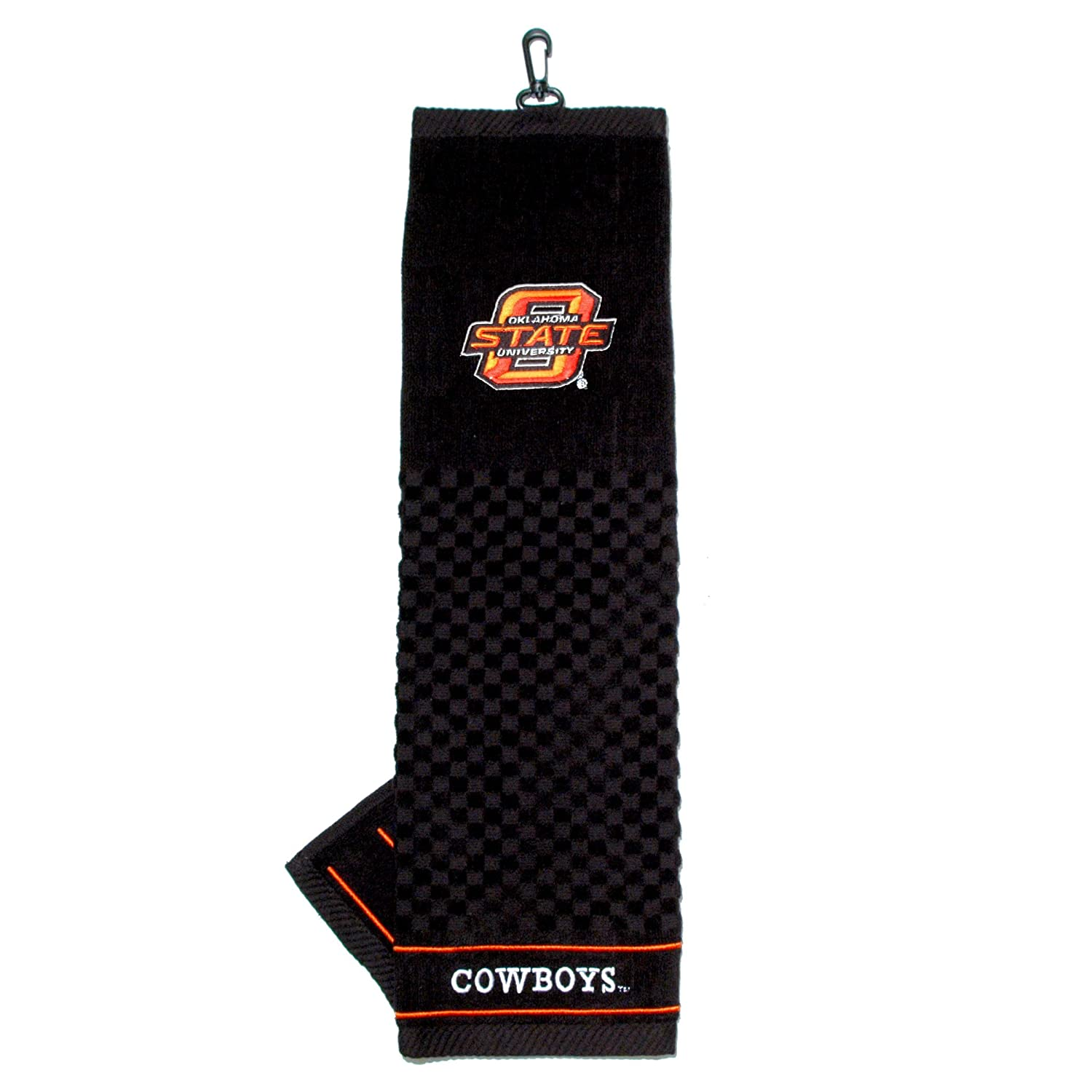 Team Golf NCAA Oklahoma State Cowboys Embroidered Golf Towel Checkered Scrubber Design Embroidered Logo