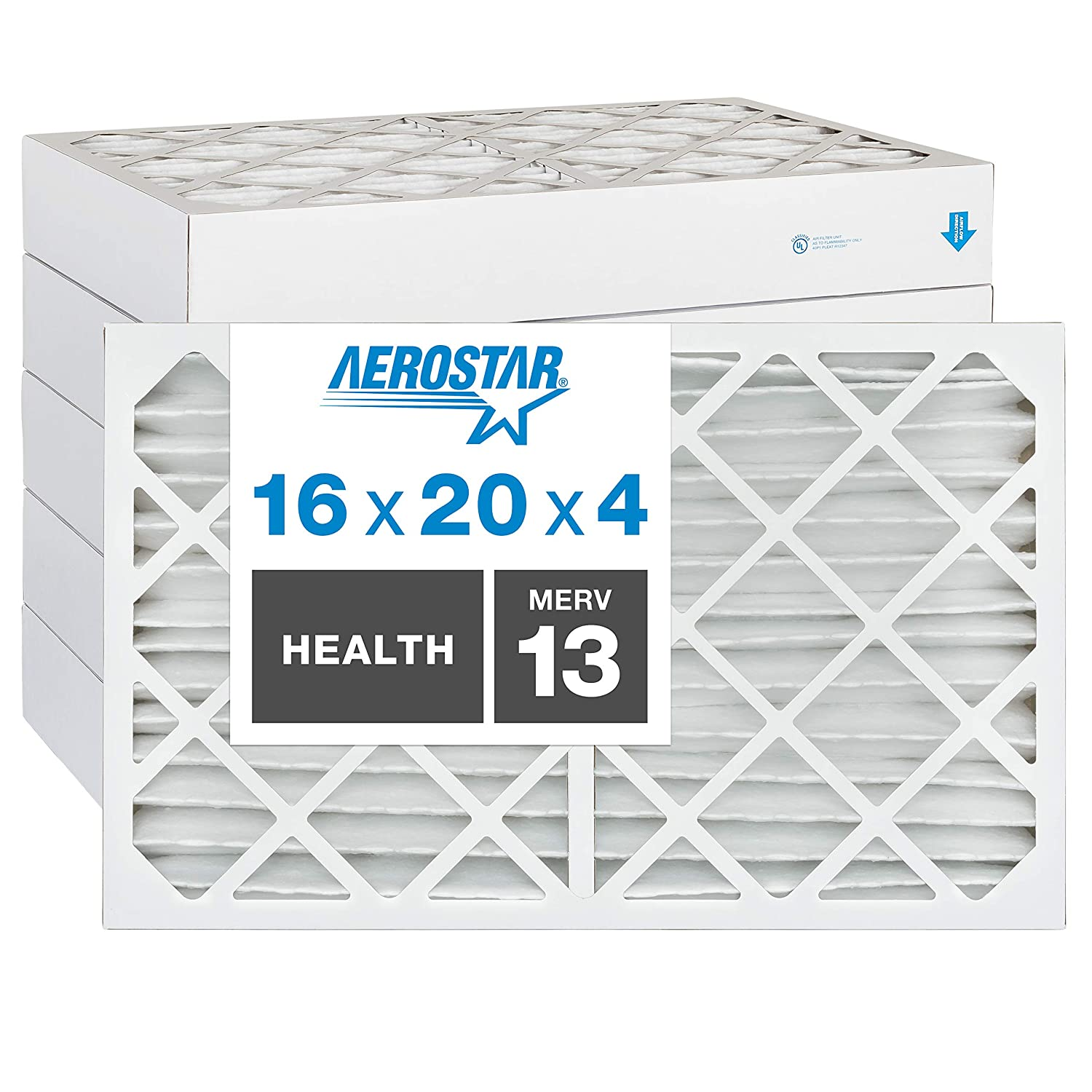 Aerostar Home Max 16x20x4 MERV 13 Pleated Air Filter, Made in the USA, 6-Pack