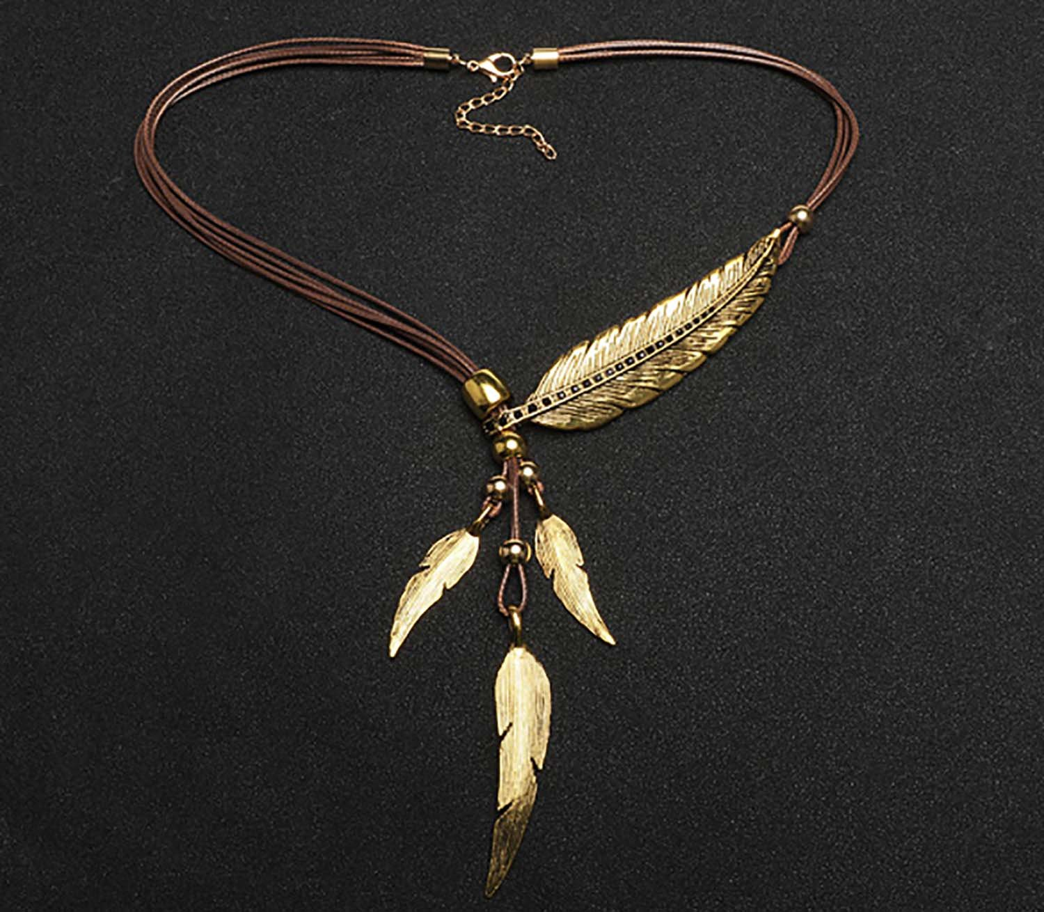 Onbio Bohemian Style Bronze Rope Chain Feather Pattern Pendant Necklace Retro Design Necklace (Gold)