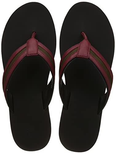 f5048043356a82 United Colors of Benetton Men s Maroon Leather Flip Flops Thong Sandals-10  UK India