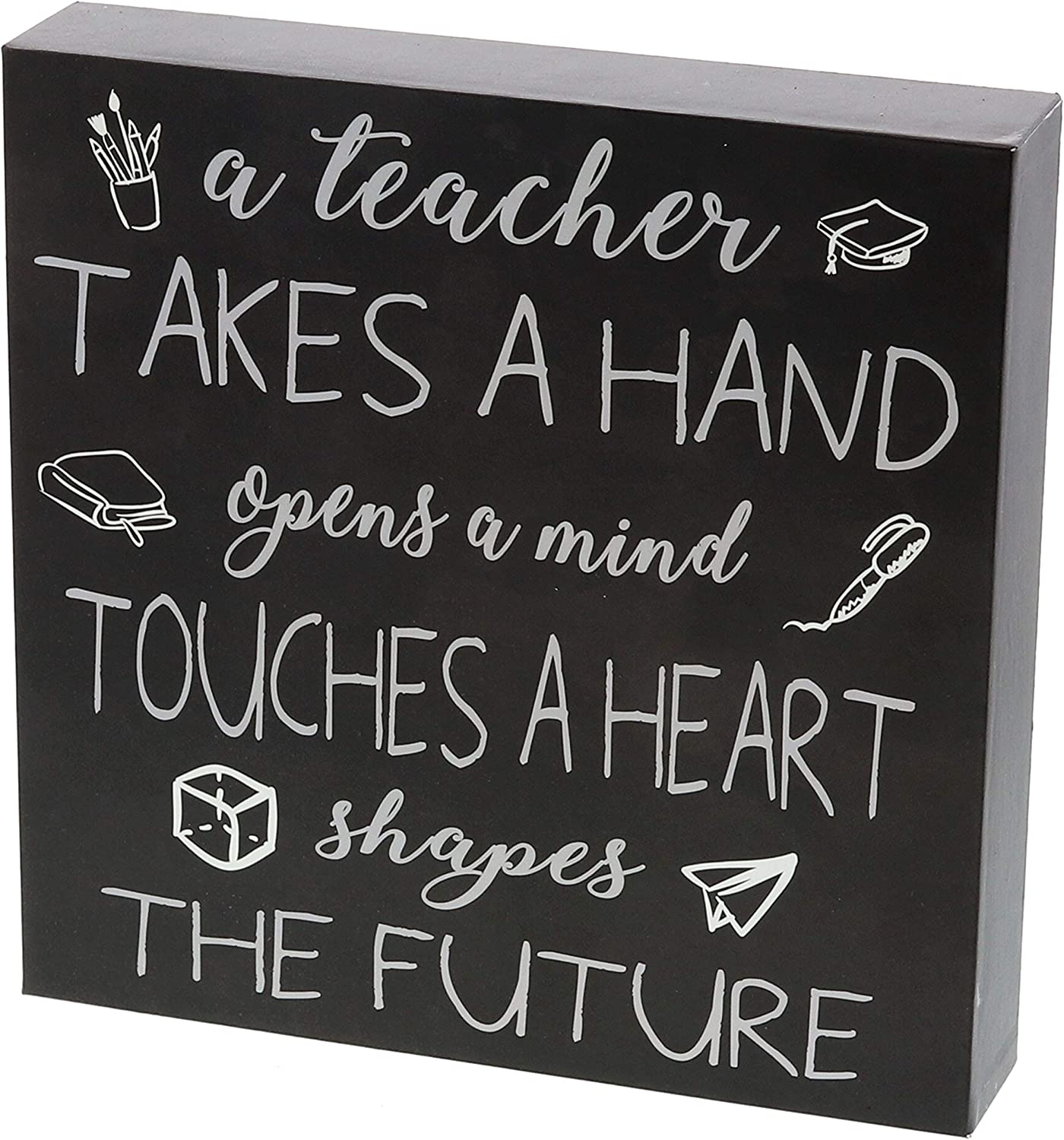 "Barnyard Designs A Teacher Takes a Hand Opens A Mind Touches A Heart Box Sign Home Decor Wood Sign with Sayings 8"" x 8"""