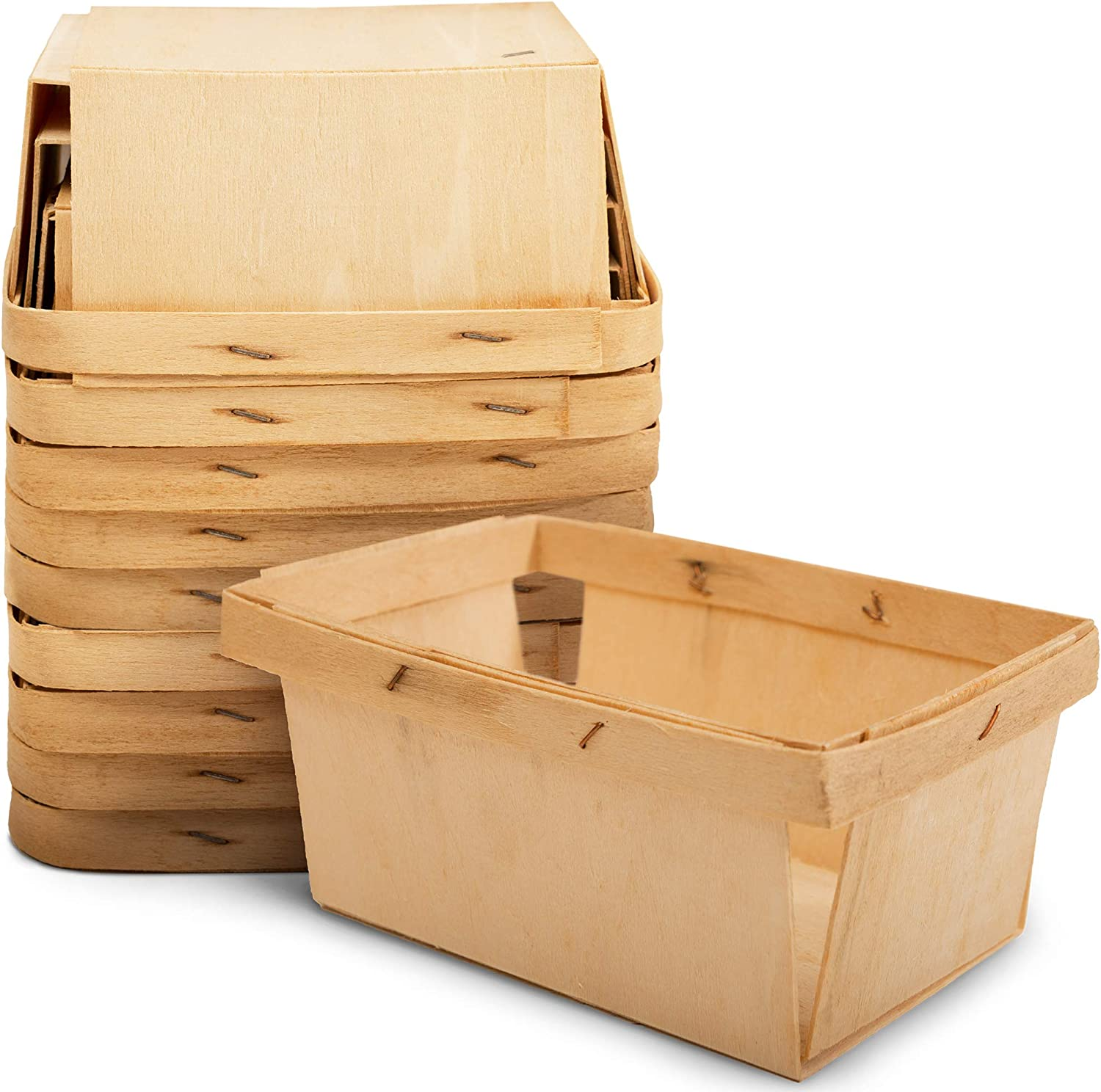 """One Pint Mini Rectangular Gift Baskets (10 Pack); for Picking Fruit or Arts, Crafts and Decor; 5.75"""" X 4"""" Rectangle Vented Wood Boxes"""