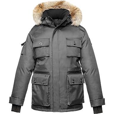 0f50c5d3a55 Nobis Mens Parka Barry-Crosshatch Black: Amazon.co.uk: Clothing