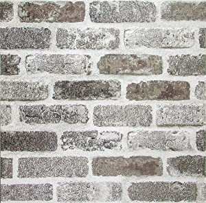 Brick Peel and Stick Wallpaper White Gray Rustic Brick Wallpaper Self Adhesive Stone Wallpaper Faux Brick Removable Film for Room Decor Stick and Peel for Kitchen Reclaimed Film 3D Home Decor Vinyl