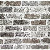 Brick Peel and Stick Wallpaper White Gray Rustic Brick Wallpaper Self Adhesive Stone Wallpaper Faux Brick Removable Film…