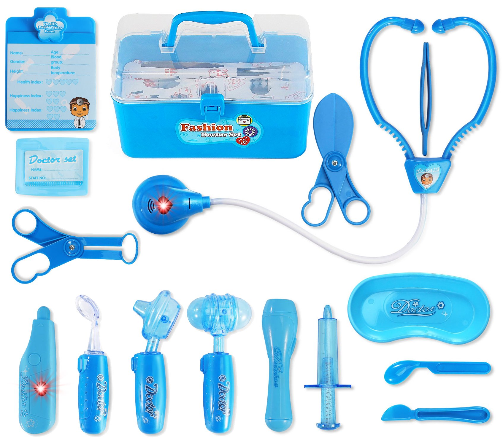 Liberty Imports Kids Doctor Playset - Pretend Play Medical Tools Box Kit for Kids - Educational Toy Gift Set for 3, 4, 5, 6 Year Old Boys, Girls (Blue) by Liberty Imports