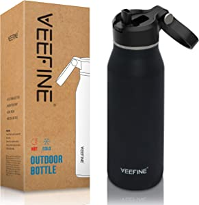 VEEFINE Water Bottle with Straw Lid Vacuum Insulated Stainless Steel Water Bottles Keep Cold Hot Leak Proof Thermos BPA Free Powder Coating Sweat Free for Camping Hiking Yoga and Gym, 20/32/40oz