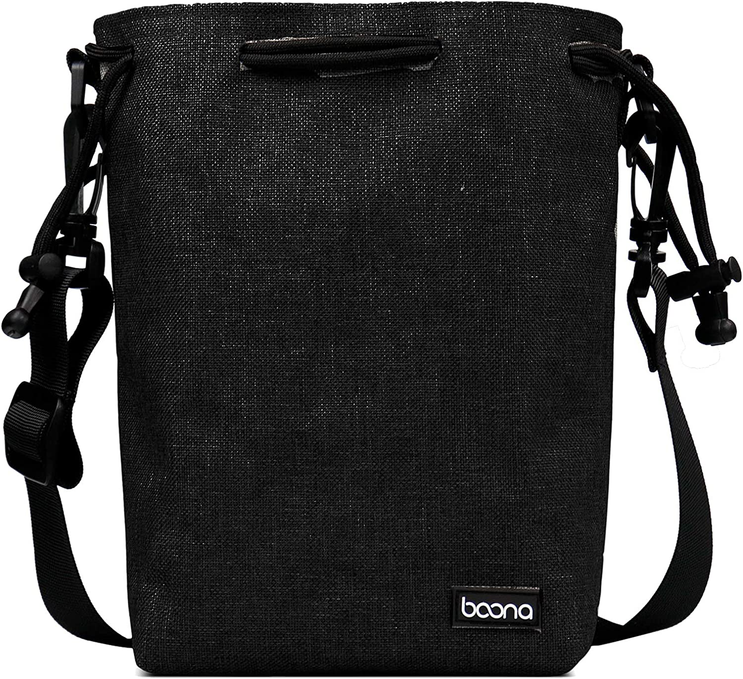 BOONA Waterproof Camera Pouch Camera Bag with Shoulder Strap, 6.7''x4.2''x9.4'' Black Velvet Padding Drawstring Pouch for DSLR Camera (Canon, Nikon, Pentax, Sony, Olympus, Panasonic)