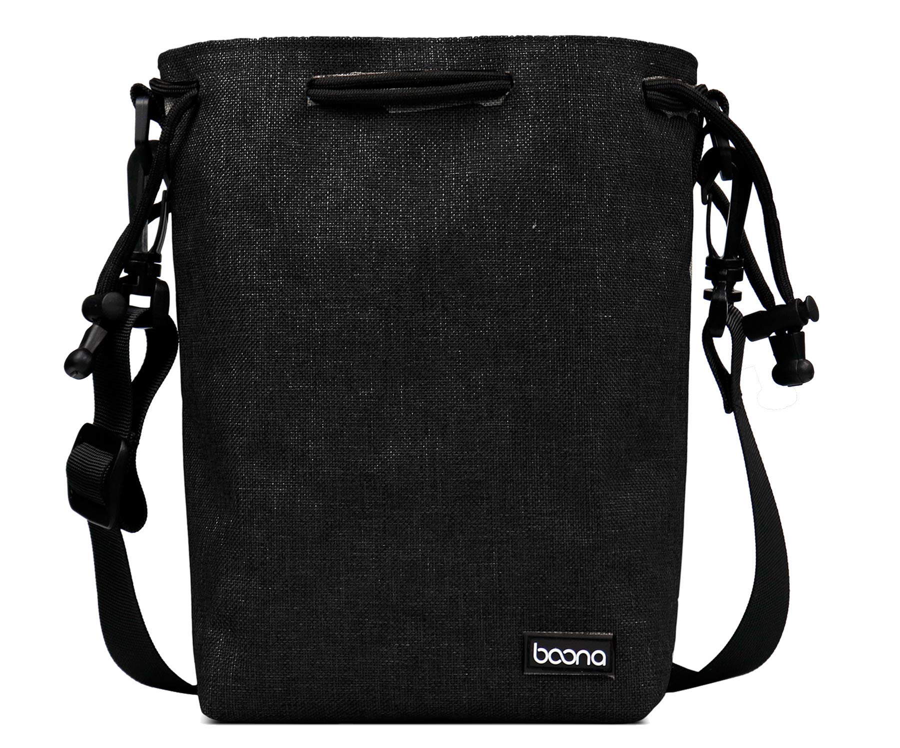 BOONA Camera Lens Bag with Shoulder Strap, Thick Water Resistant Outer with Inner Soft Plush Lence Pouch for DSLR Camera Lens -Large(6.7'' L x 4.2''W x 9.4'' H),Black by BOONA