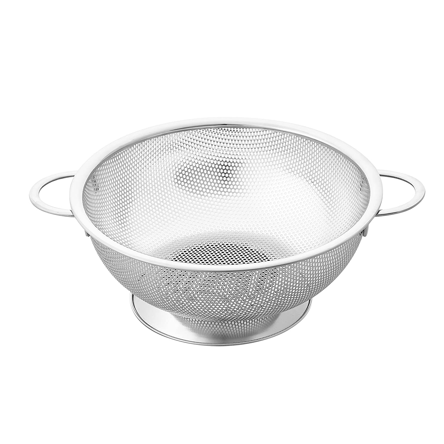 Cook N Home Micro Perforated Colander with Handle and Solid Base, 3-Quarts, Stainless Steel 02437
