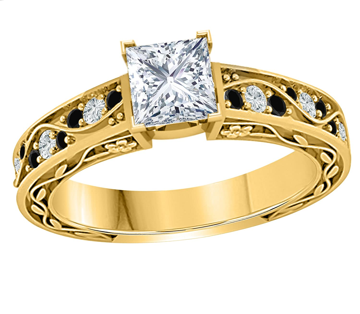 Star Retail Gorgeous 1.00 CT Princess Cut Simulated CZ Diamond /& Black Sapphire 14k Yellow Gold Plated Engagement Ring for Womens