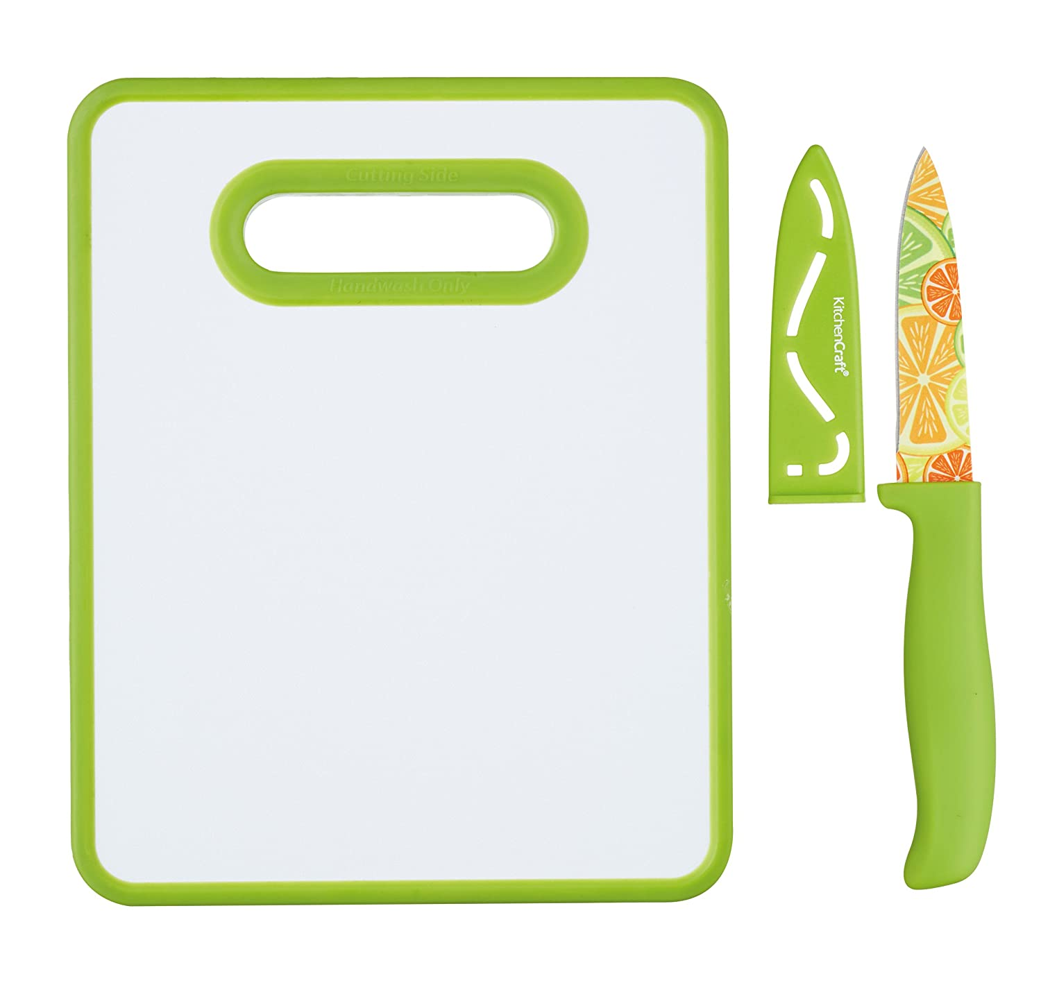 KitchenCraft Healthy Eating Non-Stick Patterned Plastic Chopping Board and Paring Knife Set, 25.5 x 20.5 cm (10