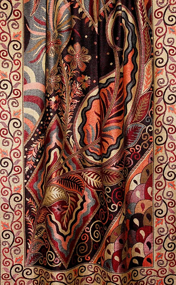 color marr/ón y amarillo dise/ño de flores Pashmina elegante para mujer Lorenzo Cana 78112 70 x 200 cm