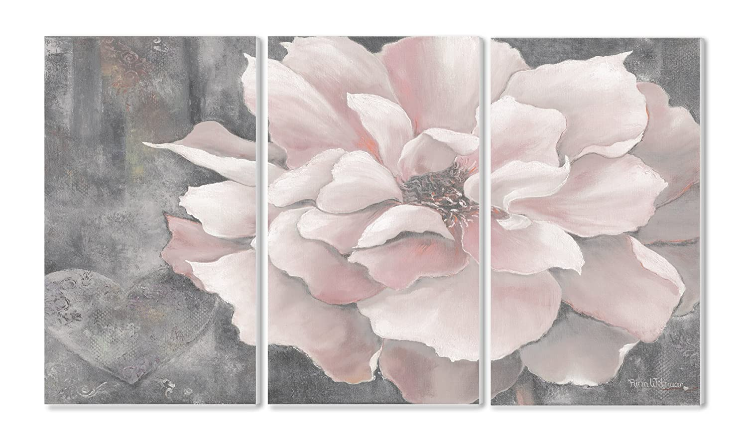 Stupell Home Décor 3 Piece Pastel Pink Peony On Gray Triptych Wall Plaque Set, 11 x 0.5 x 17, Proudly Made in USA