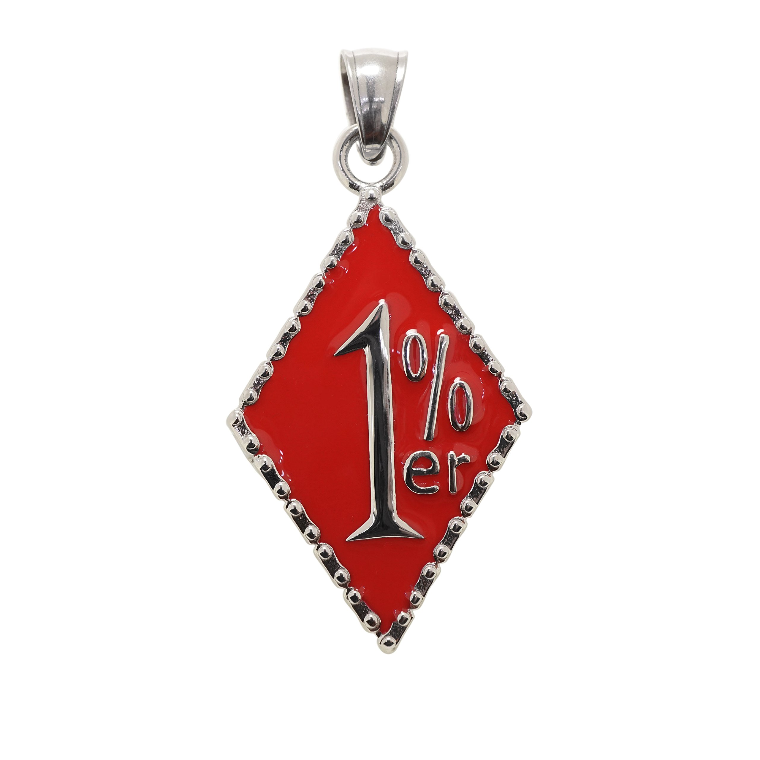 TheBikerMetal 316L Stainless Steel 1% ER Pendant w FREE Chain for 81 Outlaw Harley Motor Biker (Red(TP-60)) by TheBikerMetal