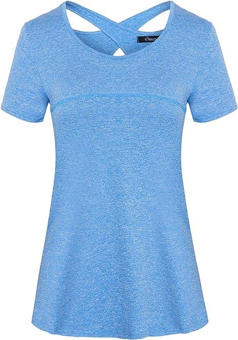 COOrun Damen Sportshirt Kurzarm Fitness T-Shirt Atmungsakti Schnell Trocken Elastisch Yoga Gym Shirts Running Top Laufshirt