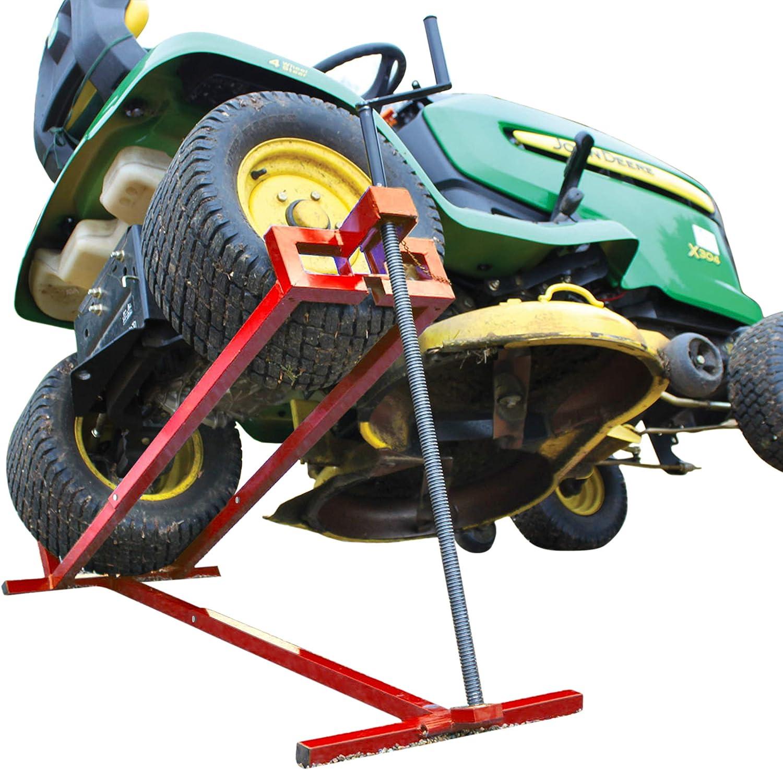 VOUNOT Levantador de césped | Siéntate en la cortadora de césped Jack | Elevador telescópico del cortacésped | Dispositivo de elevación 400KG para | Color Rojo