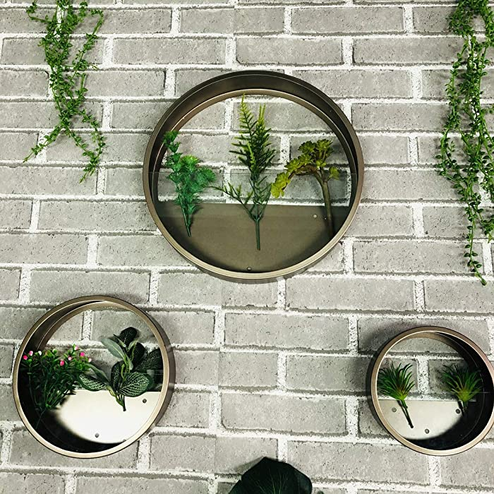 Iron and Glass Wall Vase for Decor Flowers and Plants, Round Hanging Planter, Metal Wall Decor Home Decoration (3 Pcs Set, Coffee)