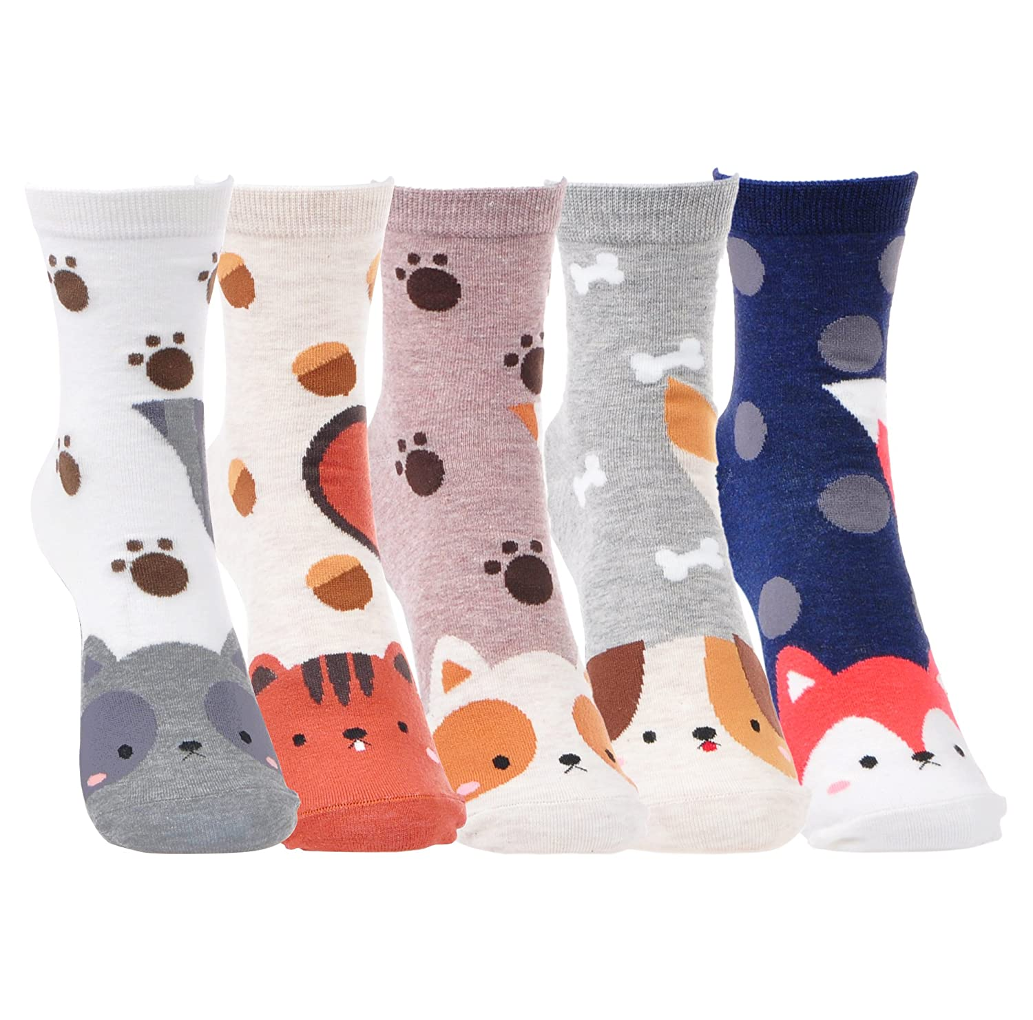460466d6cc3 Amazon.com  5 Pairs Cute Soft Kitty Socks Funny Funky Cotten Gift Present  Kitten Socks For Women Girls (Cute Animals)  Home Audio   Theater