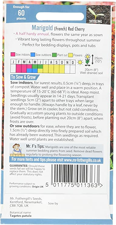 new 4 x Mr Fothergills  Marigold Red Cherry Flower Seed packets