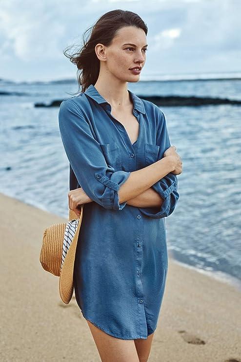QXJ Alto grado de seda-como tela camisa y playa batas, faldas de Playa