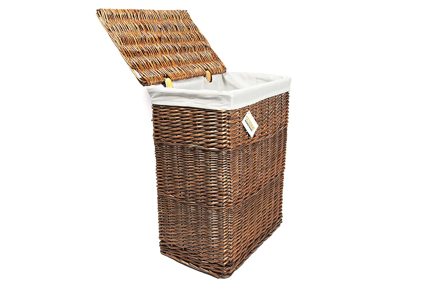 Fabric woodluv Brown Rectangular Laundry Linen Willow Wicker Basket with Lining Large