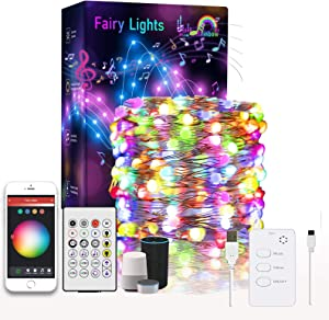 FUSWLAN Smart WiFi String Lights,32.8ft Smart LED Fairy Lights Compatible with Alexa,Google Home Music Sync USB Copper Wire Waterproof Christmas LED String Lights,App/Remote Control Party Decoration