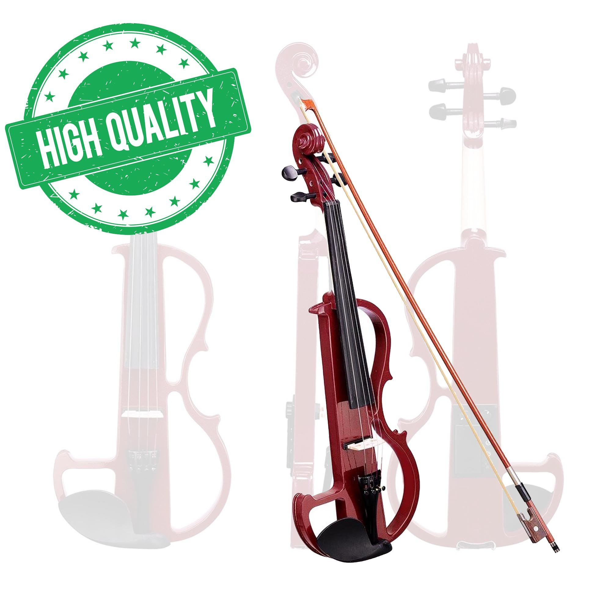 Koval Inc. Full Size Silent Electric Violin Headphone Set Wood w/ Case (Red)