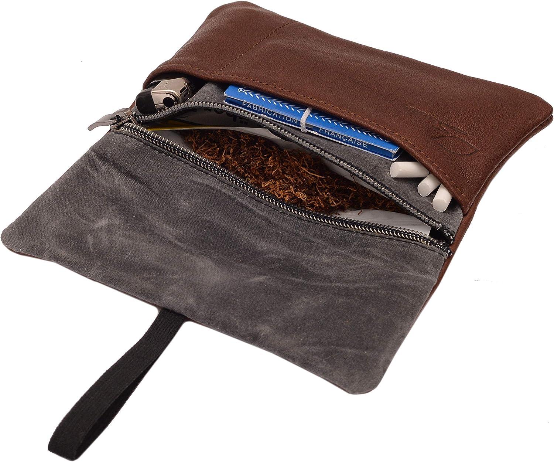 Durable Compacte Tann/é au V/ég/étal Portable Id/ée Cadeau Parfaite Pochette /à Tabac /à Rouler avec Compartiments pour Filtres et Papiers Marr SIMARU Blague /à Tabac en Vrai Cuir