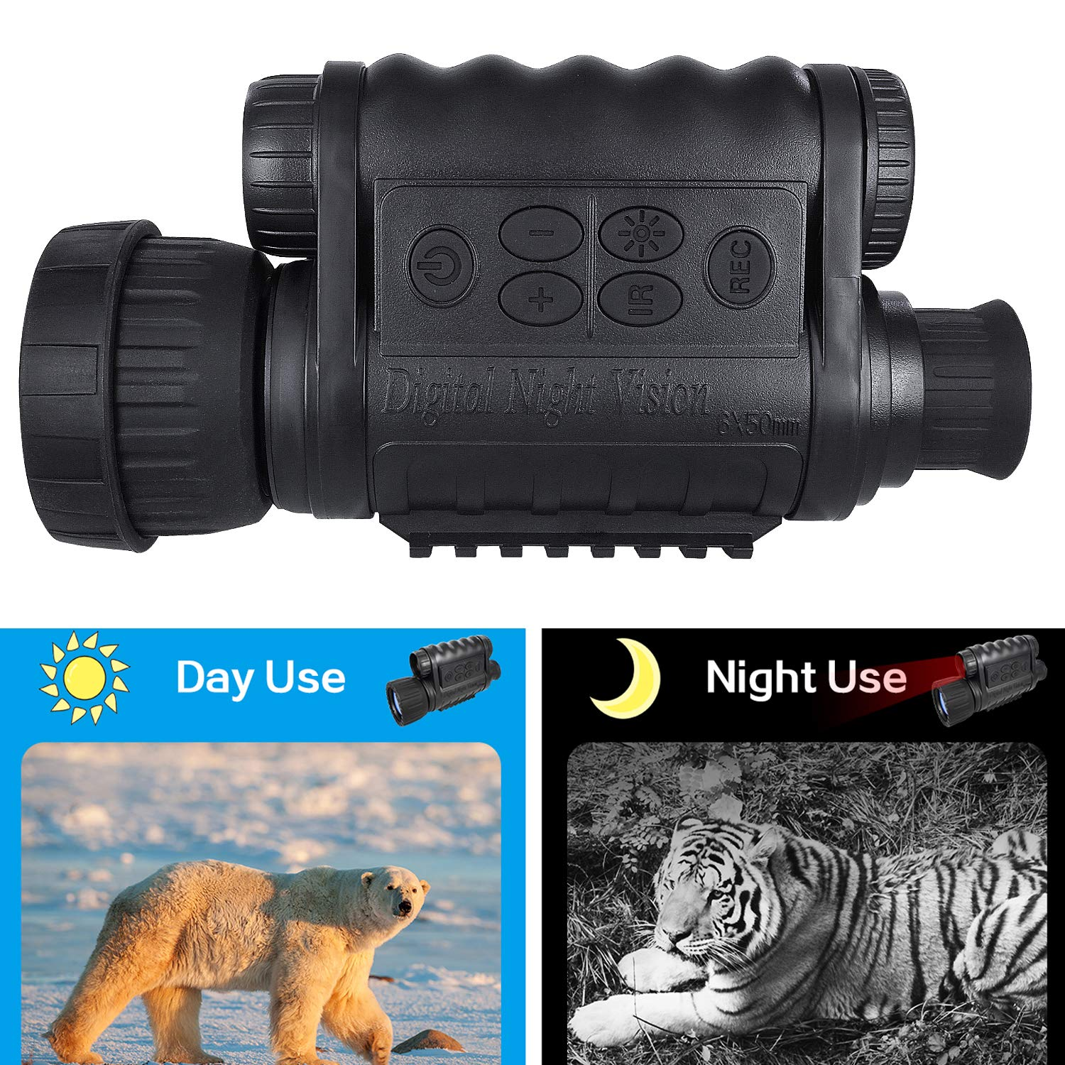 Night Vision Monocular, HD Digital Infrared Camera Scope 6x50mm with 1.5 inch TFT LCD High Power Hunting Gear Takes 5mp Photo 720 Video up to 350m/1150ft Detection Distance by Bestguarder