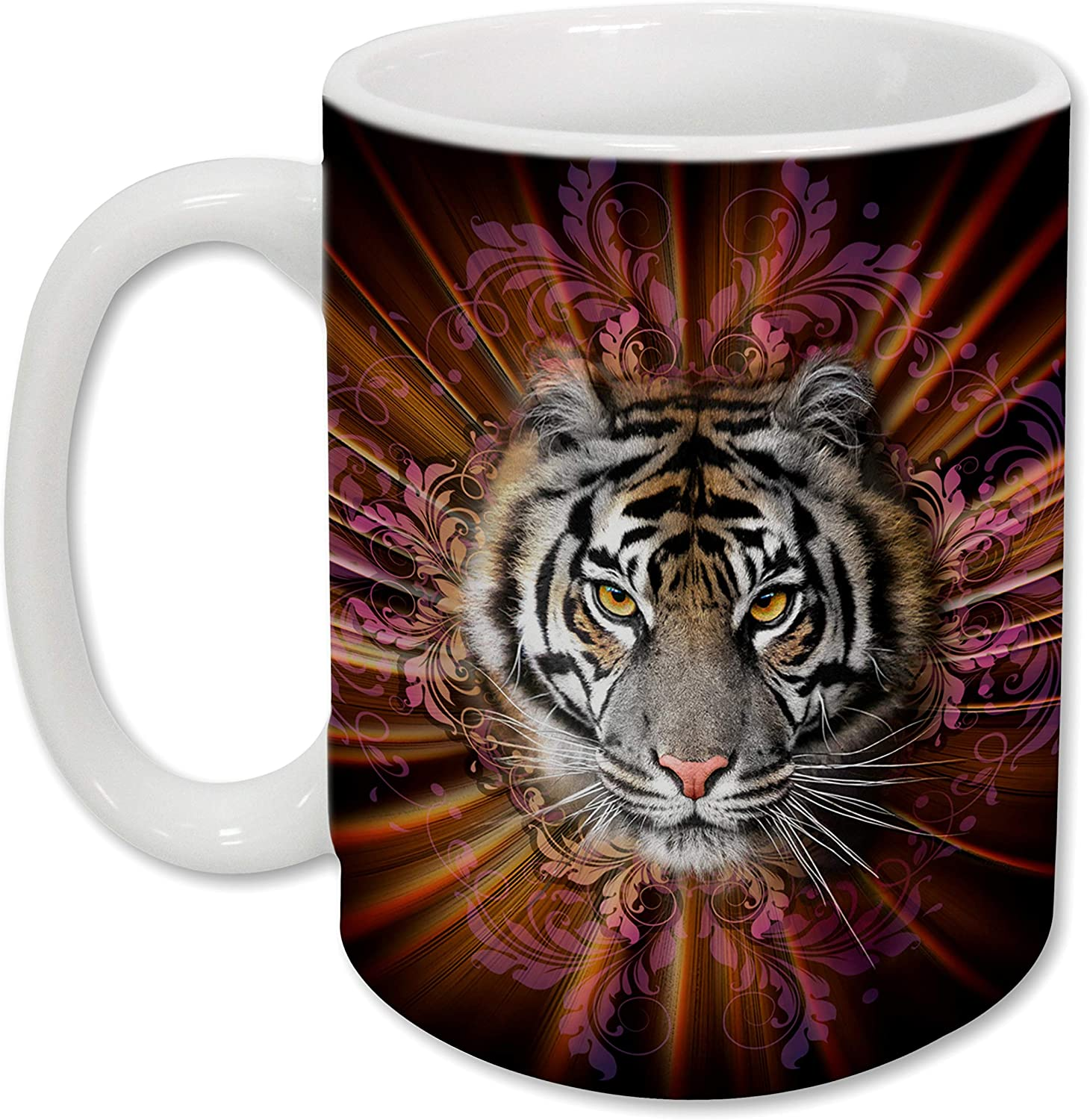 Sweet Gisele | Tiger Mug | Ceramic Coffee Cup | Rich and Vibrant Colors | Perfect Holiday Gift | Dishwasher & Microwave Safe | Great Novelty Item Animal Mugs | 15 Fl. Oz