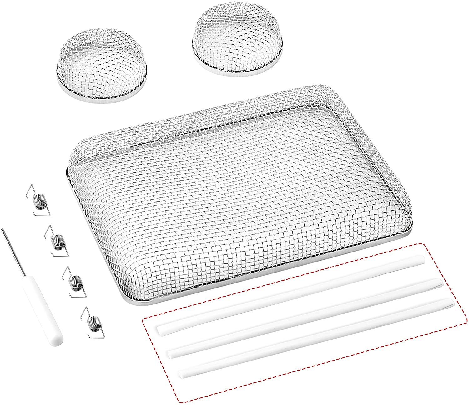 RVGUARD RV Flying Insect Screen, Stainless Steel Mesh RV Furnace Vent Cover with Installation Tool and Silicone Rubber, 2.8 x 1.3 Inch for Furnace Fitting, 8.5 x 6 x 1.3 Inch for Water Heater