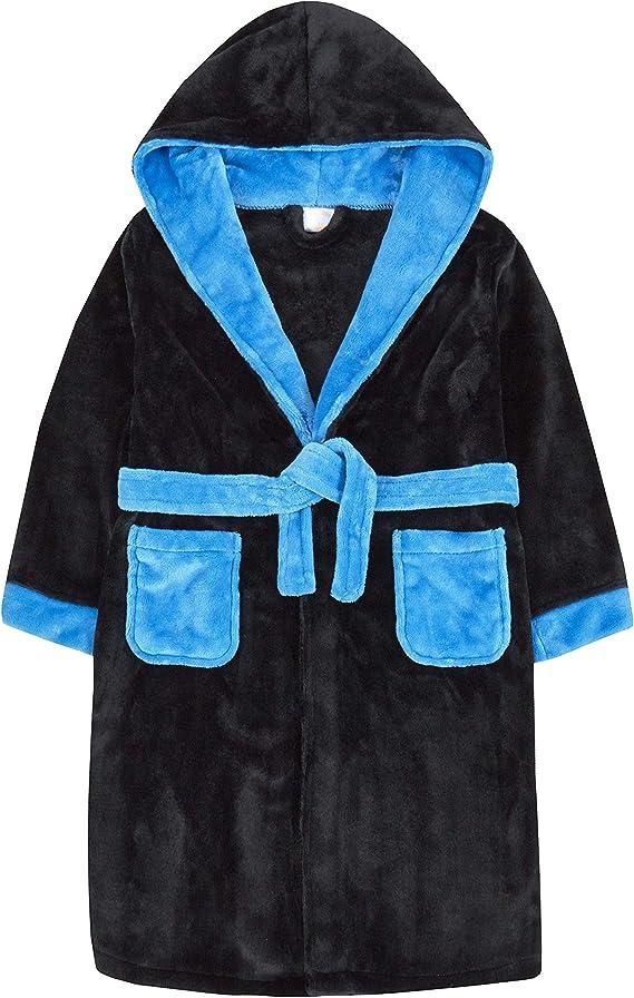 4Kidz Boys 2 Tone Snuggle Dressing Gown Minikidz