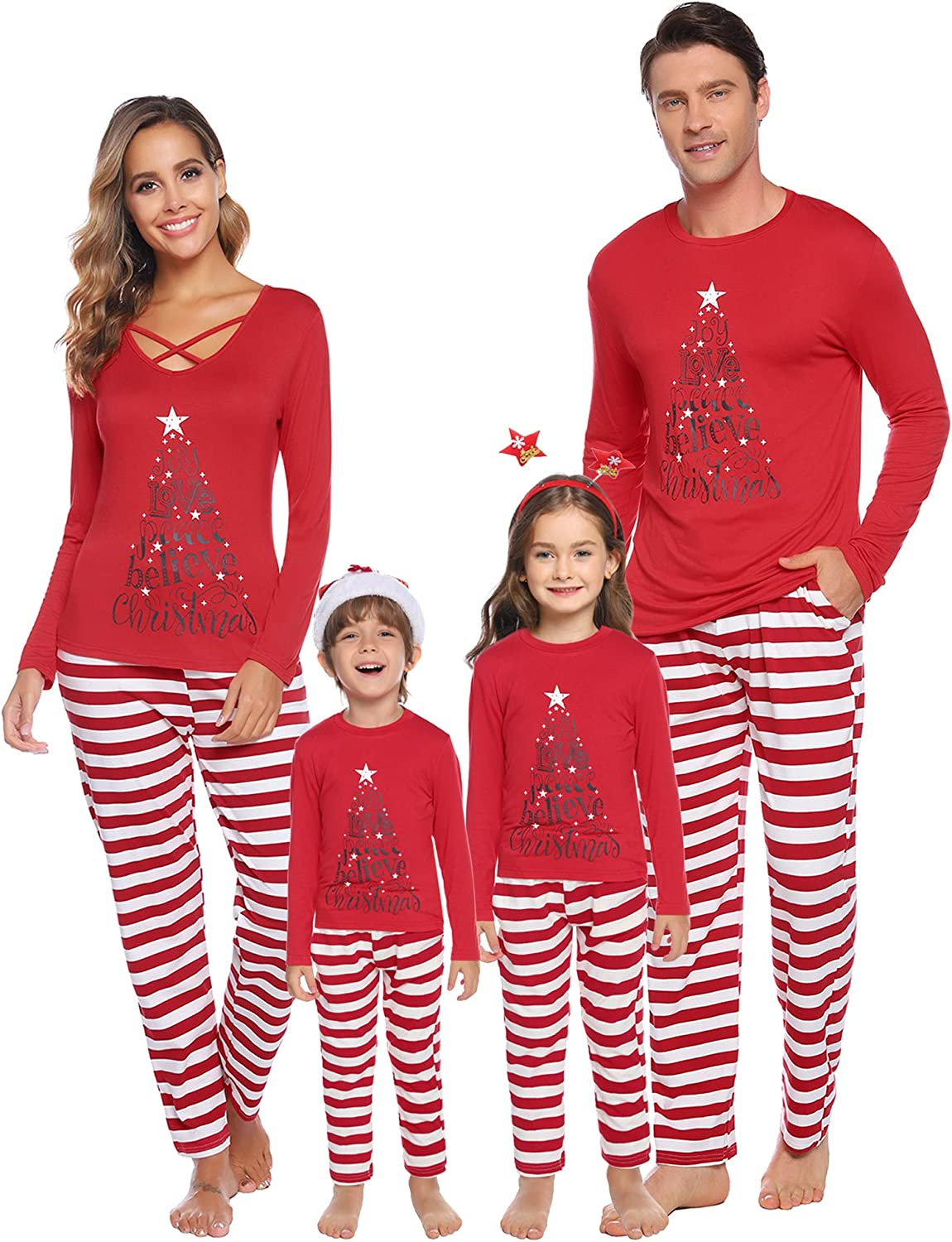 Joy Love Peace Believe Christmas 1 Knitted Sweaters Pullover for Teens Girl
